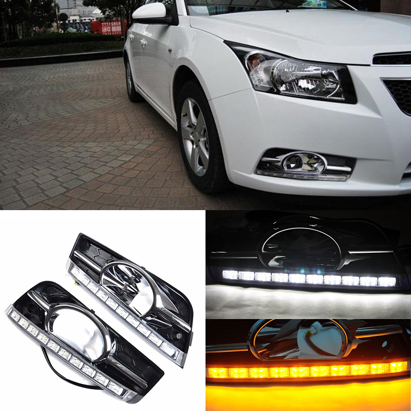 Turning Signal and dimming style Car LED DRL Daytime Running Lights For Chevrolet Cruze 2009-2013 With Fog Lamp Hole
