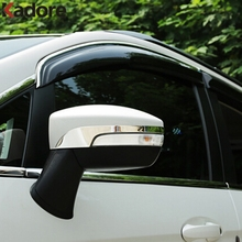 For Ford Kuga Escape 2013 2014 2015 Rearview Mirror Rain Eyebrow Cover Trim ABS Chrome Plastic Back Mirror Protector Strips 2PCS abs chrome trim air conditioning outlet decoration circle for ford kuga 2013 2014