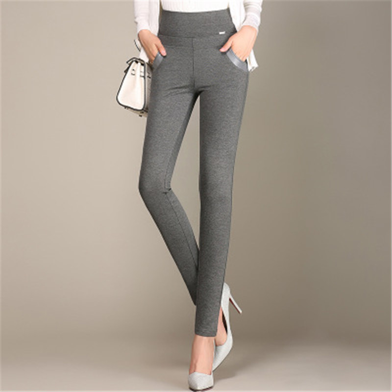 Spring Autumn Women Casual Leggings Europe Russia Noble Lady Blue Gray Packets Patchwork Pu Elasticity Slim Knit Cotton Blend