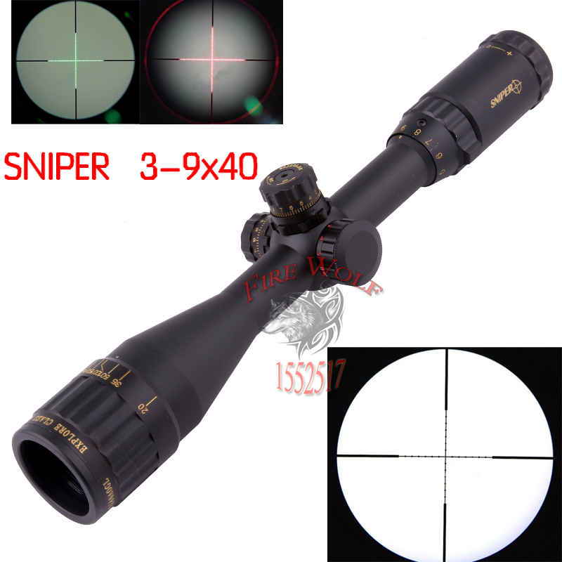 Tactical Rifle Scope SNIPER 3-9X40 Hunting Mil Dot Air Rifle Gun Optics Sniper Golden Version air soft weapon gun 3 9x40 hunting rifle scope mil dot illuminated snipe scope