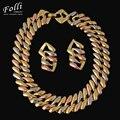 Alta moda encantos de oro verdadero de la joyería grandes choker collar pulsera pendientes para las mujeres noble parure bijou placa o