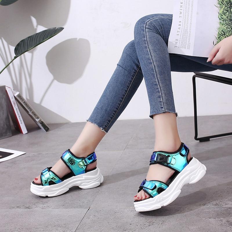 HTB17v3wM4jaK1RjSZFAq6zdLFXaK Sexy Open-toed Women Sport Sandals Wedge Hollow Out Women Sandals Outdoor Cool Platform Shoes Women Beach Summer Shoes 2019 New