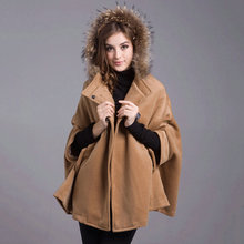 Thickening Woolen Coats 2017Winter New Women Jacket Loose Cloak Top Hooded Fashion Clothing Keep warm Large-size OuterwearLH053(China)