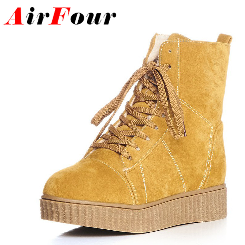 ФОТО Airfour Fashion Boots Woman Flats Winter Boots Black Shoes Ankle Round Toe Winter Warm Shoes Women Flat With Big SIze 34-43