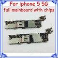 Placa de circuitos de função completa 100% trabalho versão gsm 16 gb placa principal para iphone 5 5g desbloqueio originais motherboard com chips
