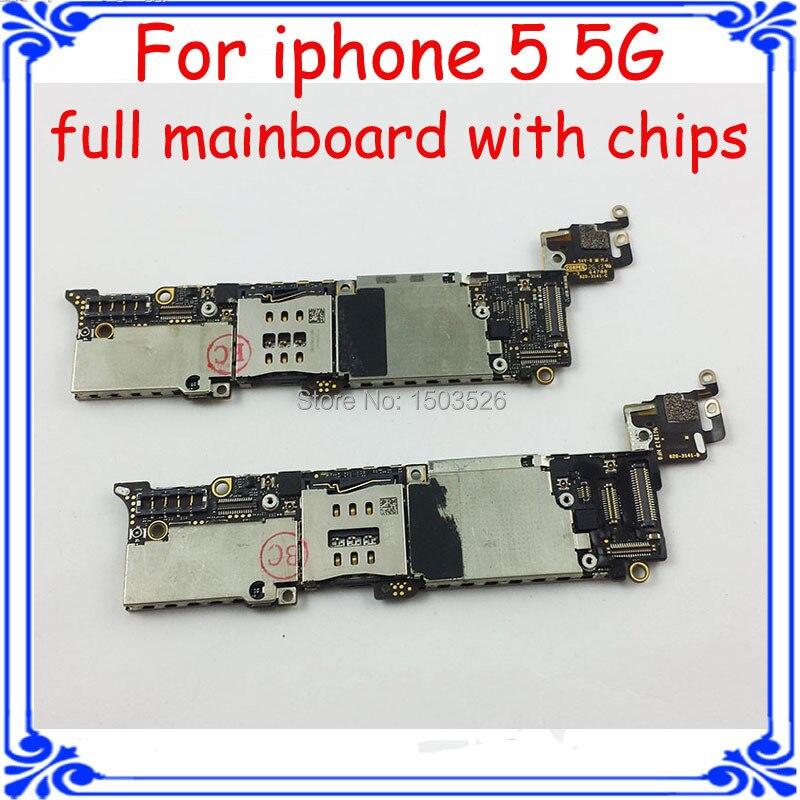 imágenes para Tablero de circuitos de función completa 100% trabajo GSM versión 16 GB placa base placa base para el iphone 5 5g original unlock con patatas fritas