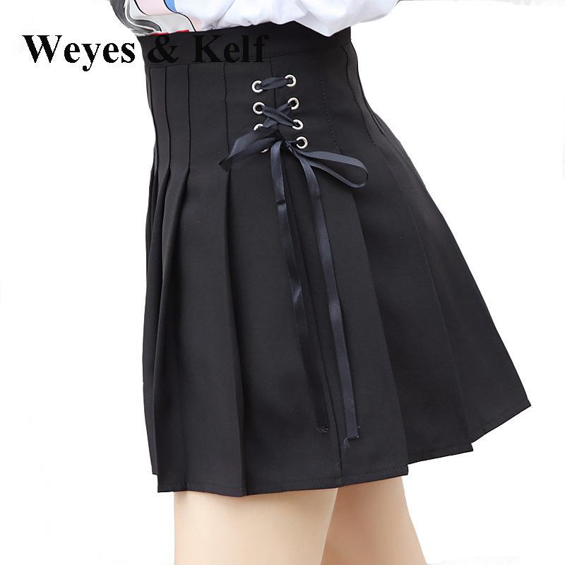 Weyes & Kelf Casual Mini Pleated Skirt For Women 2018 Lace Up Pleated Skirt With Bow High Waist Short Skirts Female Students