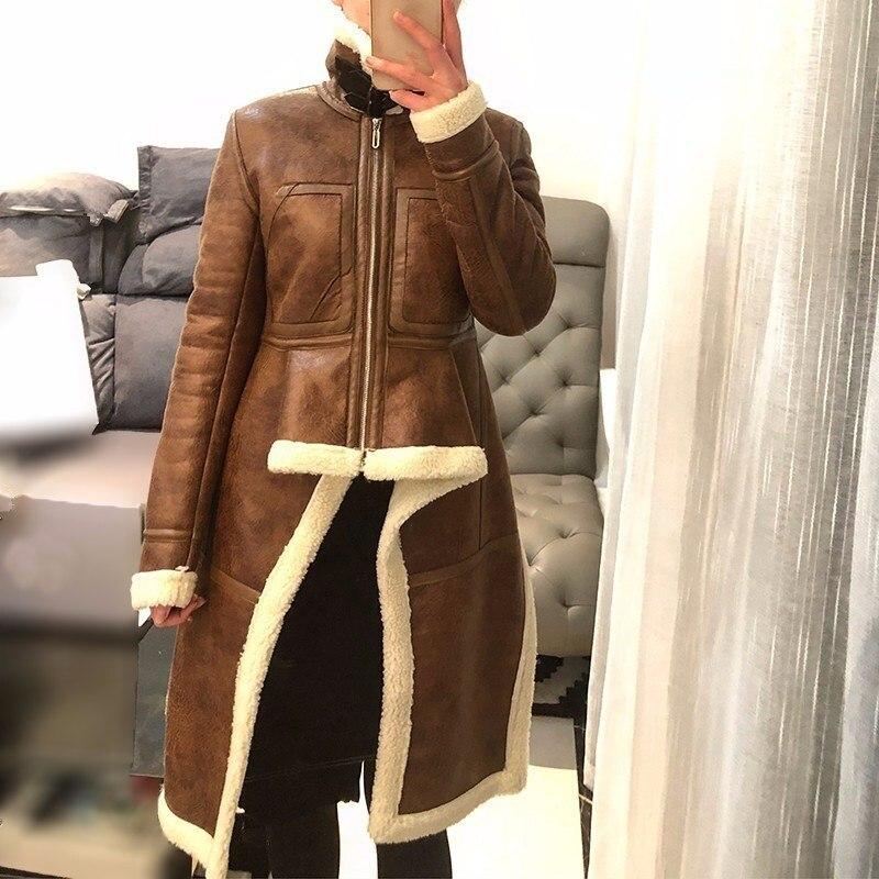 En Polaire Femelle Irrégulière Marron 2018 Couche Roulé Veste Cuir Vêtements Marée Hiver Col Pu Manteaux Zipper Épaisse ygf7b6