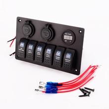 IZTOSS Voltmeter+12V Cigarette Socket +Double USB Power Charger Adapter aluminum Flush Mount 6 gang rocker switch PanelRV