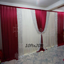 Romantic Burgundy Wedding Backdrop Curtain Silver Sequins Swag Stage Pleats Curtain 10ftX20ft(3*6m) Wedding Decoration 3X6M