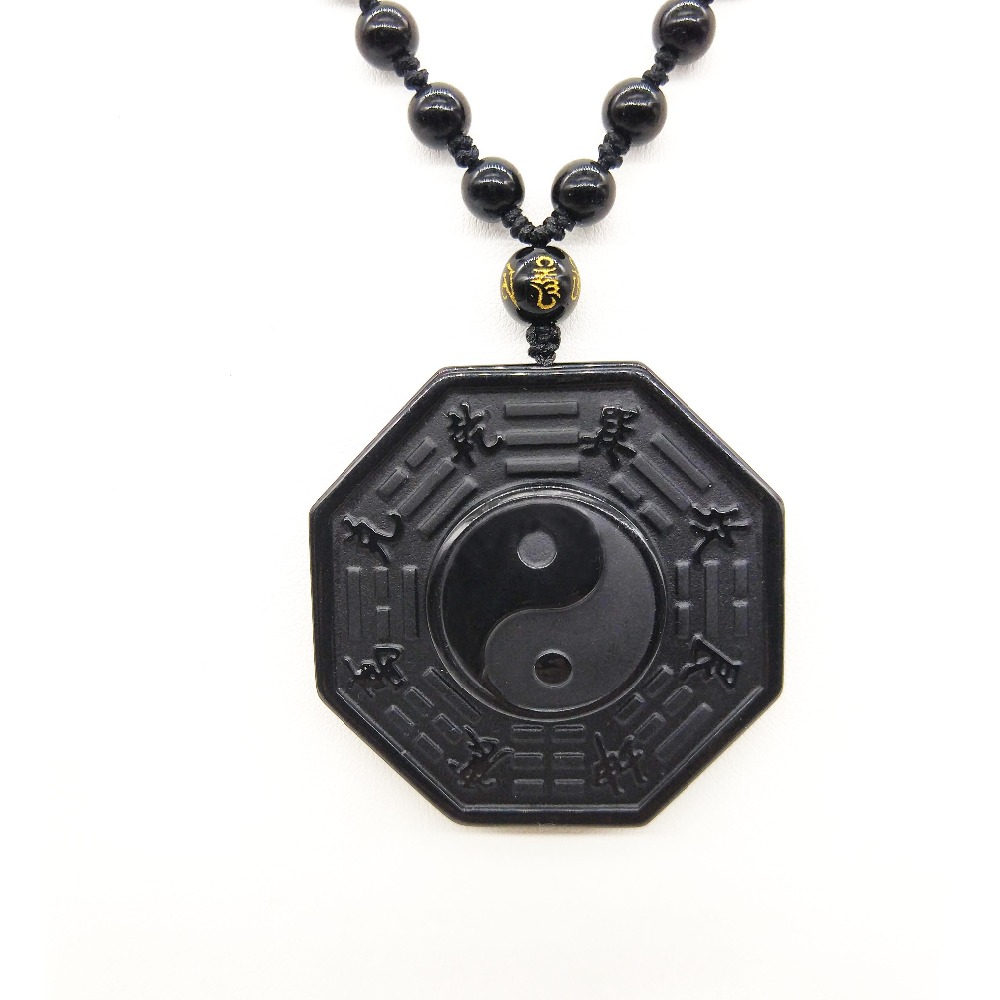 Drop Shipping Black Obsidian Necklace Pendant Chinese BAGUA Men s Jewelry Women s Jewelry