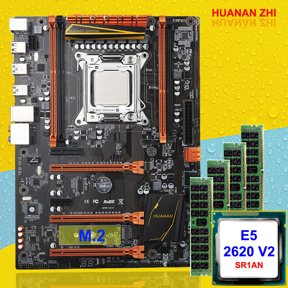 Big Brand New Arrival HUANAN ZHI Deluxe X79 Gaming Motherboard Set CPU Xeon E5 2620 V2 SR1AN RAM 32G(4*8G) DDR3 1600MHz REG ECC