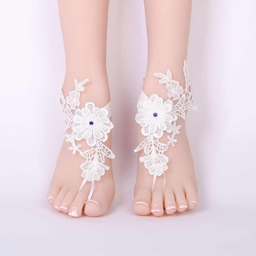 1 пара элегантные кружевные свадебные босиком сандалии браслеты обувь с носком Sandbeach Свадебные пляж невесты ног ювелирные изделия