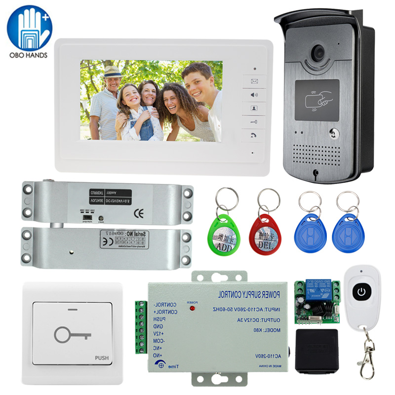7 TFT LCD Wired Video Door Phone Visual Speakerphone Intercom System With Waterproof Outdoor Camera+Electric Look+Remote Contro pcp paintball din valve tank on off valves m18 male g5 8 female 30mpa 4500psi for m18 1 5 high pressure cylinders cf tank dvc05