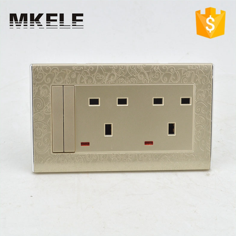MK-WS05043 New PC Material Useful 2 Gang 3 Pin Switched With Neon Double 13 A Switch Wall Socket Switches Electrical scinder switched socket package 15 steel frame two or three five hole electrical outlet wall switch panel switch