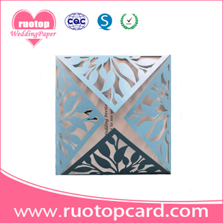 China Wholesale Hot Selling Laser Cutting Chinese Luxurious Pocket Fold Wedding Invitation Greeting Cards In Pearl