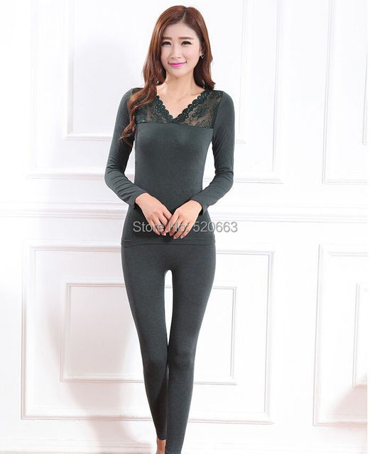 Sexy autumn Winter Thermal Underwear Warm Multiple Color seamless Body suits Lace V Collar Shaping slimming products