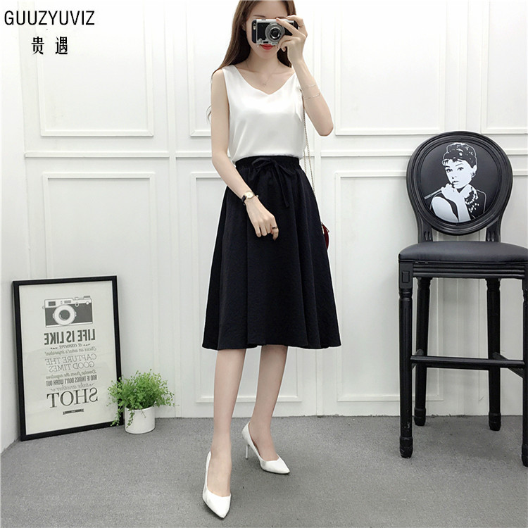 GUUZYUVIZ Summer 2018 Fashion Woman Saias Na Altura Do Joelho Casual Solid Color Tie A Line Skirt Skirts Womens Office Lady