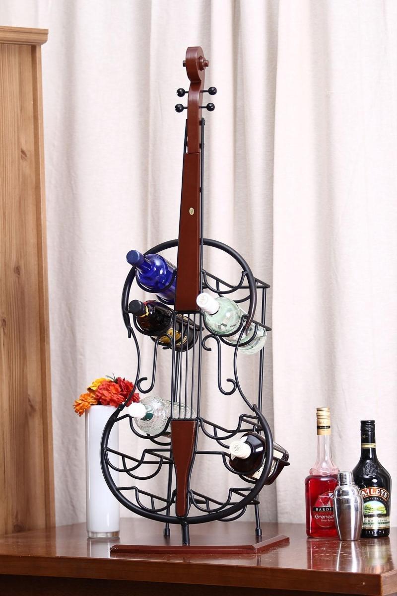 Creative Metal Art Cello Model Wine Bottle Holder Craft