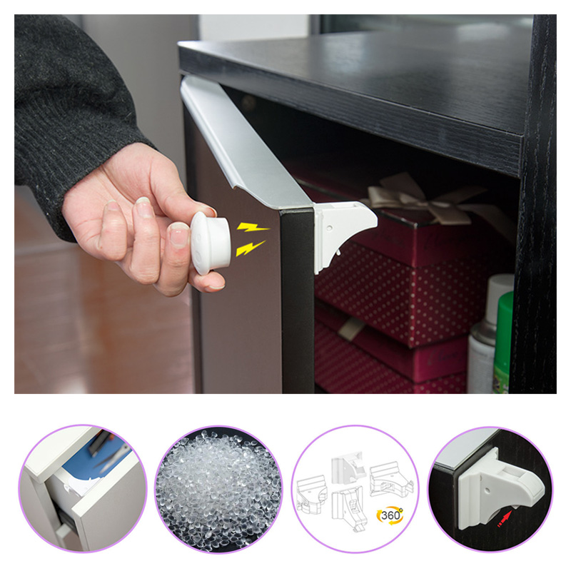 Magnetic Baby Child Cupboard Safety Locks Childproof Magnetic Cabinet Drawer Locks Magnetic Locking System with 8Locks