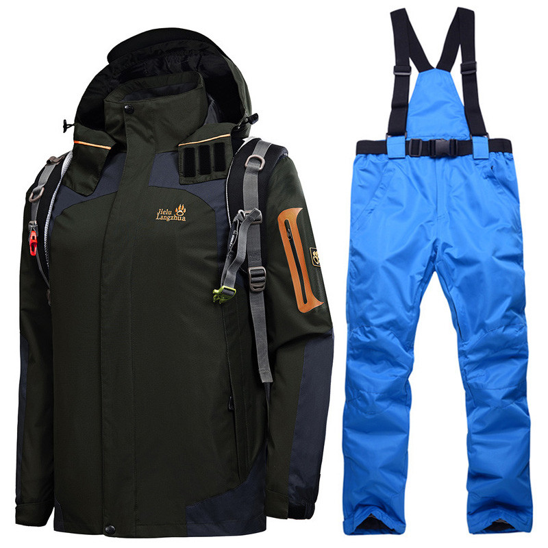 Russian Winter Ski Suits For Men Waterproof Thermal Snowboard Snow Jackets Mountain Skiing Jacket Pants Men Brand Clothes Set