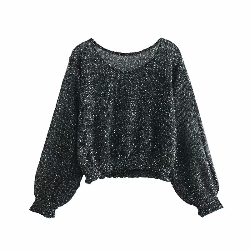 Long Pullover Sweater Spring Solid Long Sleeve Sequin Pullover Women Knitted Sweater Casual Loose Thin Jumpers Sweaters Ladies