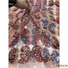multi color Sequin Lace Fabric latest african laces 2019 African fabric with Sequins High Quality DYS174