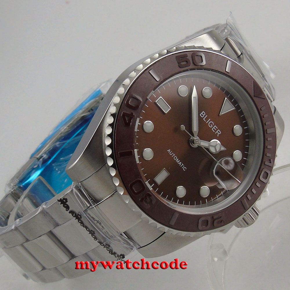 цена 40mm Bliger brown dial ceramic bezel sapphire crystal date automatic mens watch онлайн в 2017 году