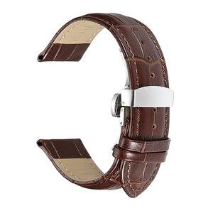 Image 5 - Istrap 本革ウォッチバンドバタフライバックルバンドクロコ穀物ブレスレット腕時計でサイズ 12 13 14 16 17 18 19 20 21 22 24 ミリメートル