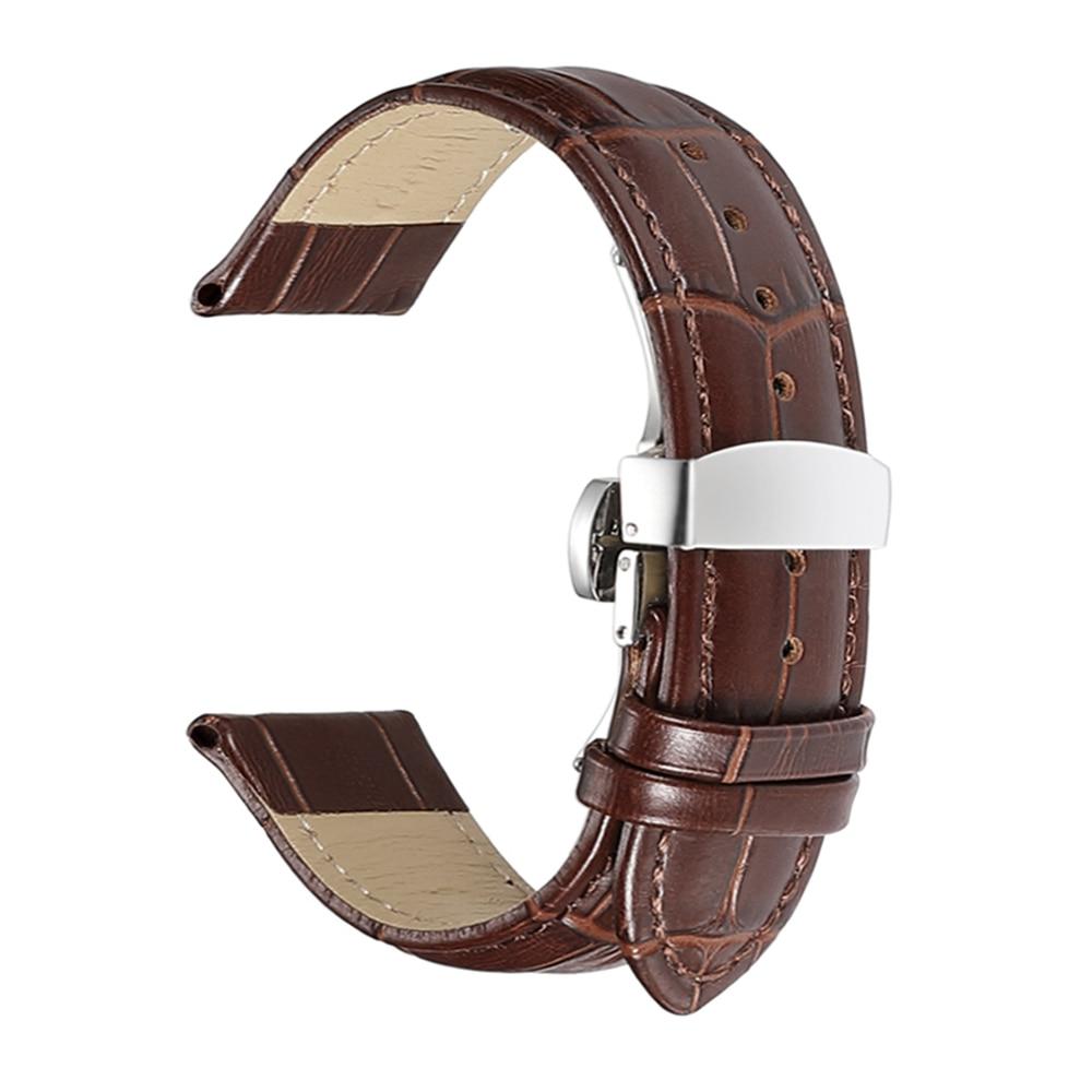 iStrap Genuine Leather Watchband Butterfly Buckle Bands Croco Grain Bracelet Watch sized in 12 13 14 16 17 18 19 20 21 22 24 mm