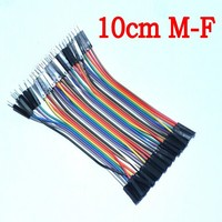Free Shipping 1lot 40pcs 10cm 2 54mm 1pin 1p 1p Male To Female Jumper Wire Dupont