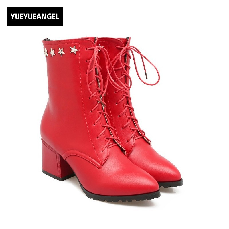 2018 Fashion Pointed Toe Womens Punk Ankle Boots Star Metal Lace Up Block Heel Female Shoes Pu Leather Zapatos Mujer Large Size new 2016 fashion women winter shoes big size 33 47 solid pu leather lace up high heel ankle boots zapatos mujer mle f15