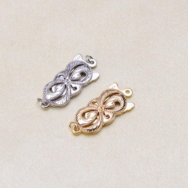 1 pièces G14K Or Fermoirs & Crochet Fleur Coeur Multi Motif Évider Fermoirs Bijoux Pour La Fabrication De Bijoux