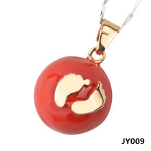 JY009 Wholesale Jewelry Foot Pendant 20MM Red Sealed Round Harmony Ball Angel Caller Necklaces Pendants For Pregnant Women(China)