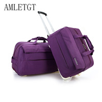 Travel BagAMLETG Fashion Waterproof Luggage Bag Thickening Rolling Luggage Trolley Case Luggage Lady Travel Luggage with Wheels