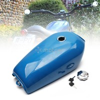 Blue Metal 9L 2.4 Gal Motorcycle Fuel Oil Gas Tank Cafe Racer Vintage with Tap Universal for Honda CG125 CG125S CG250