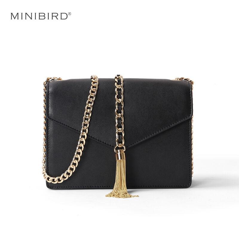 2017 Lady Miss Mini Envelope Messenger Bags Women Simple Fashion Split Leather Crossbody Cover Shoulder Chain Tassel Flap Bags
