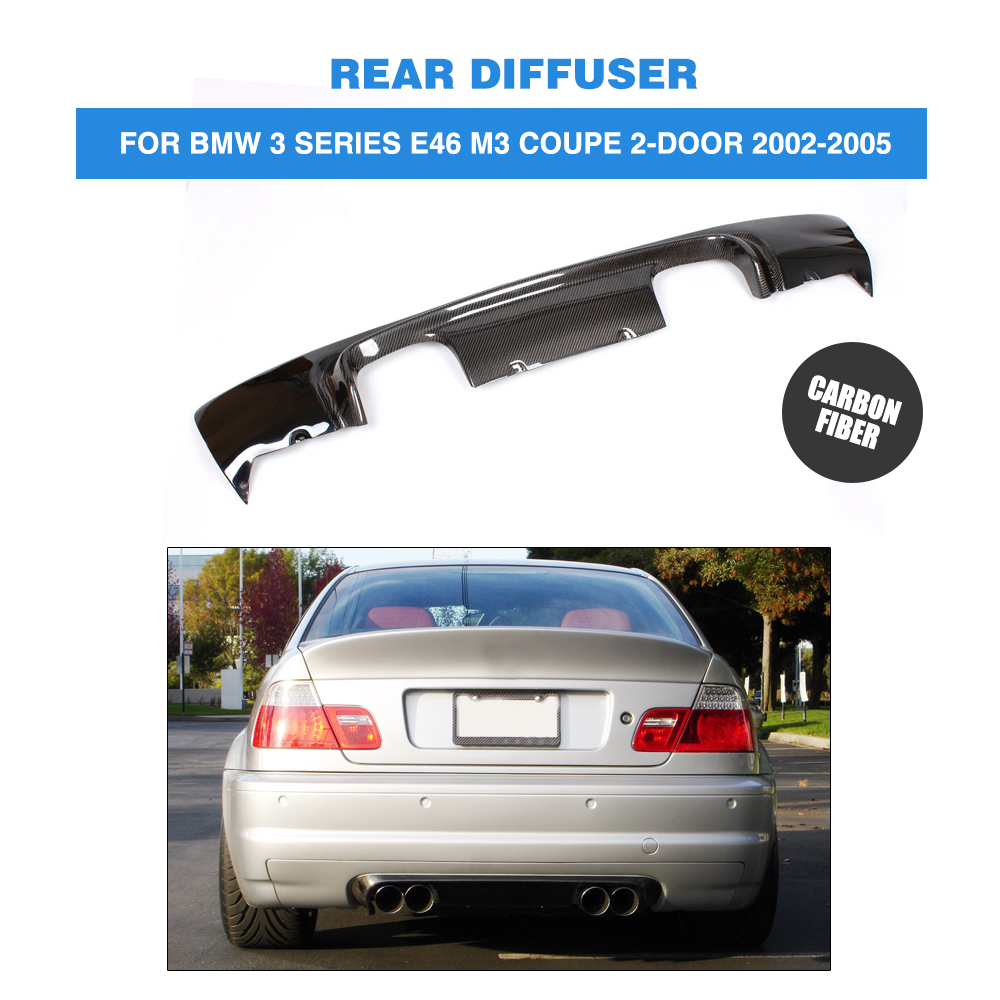 Carbon Fiber Rear Diffuser Lip Spoiler C Style Fit For BMW E46 M3 Bumper Black 2007 bmw x5 spoiler