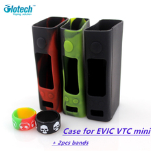 Glotech 1pcs Skin soft Silicone rubber protective Case cover for EVIC VTC mini box mod+2pcs silicone rubber bands for atomizer