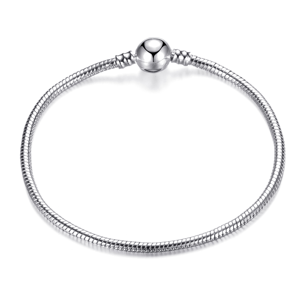 Hot Sale Retro Silver Plated Snake Chain DIY Charm Bracelet Bangle 17 21cm Brand Bracelet Jewelry for Women Gift 2019 NEW in Charm Bracelets from Jewelry Accessories