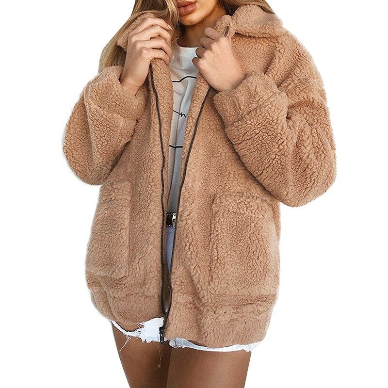 font b Women b font Winter font b Jacket b font Coat Faux Fur Bear