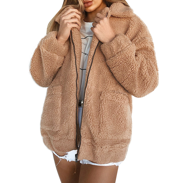 cf1a4c82e0d Women Winter Jacket Coat Faux Fur Bear Teddy Coat Thick Warm Fake Fleece  Jacket Fluffy Jackets