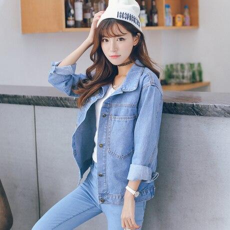 36183c226cfe2 Autumn Jacket Women 2017 Casual Korean Style Turn Down Collar Long Sleeve  Blue Denim Jacket Vintage Jeans Coat jaqueta jeans C7