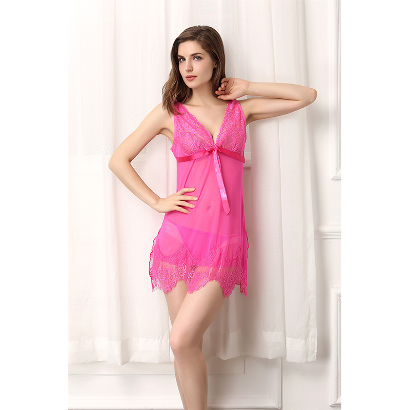 Hot Sleepwear Temptation Lingerie Sexy Hot Erotic Lace Bra Babydoll Spaghetti Strap See Through Sheer Slip Nightwear for Women