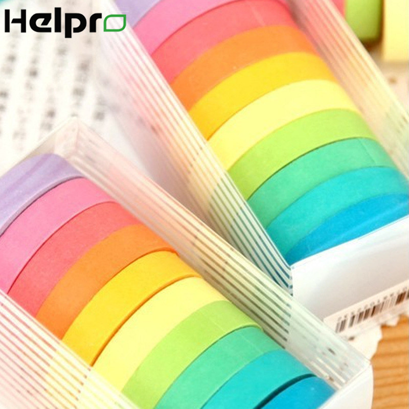 Helpro 10Pcs/Set Masking Washi Tape Rainbow Color DIY Diary Decoration Tapes Scrapbooking School Stationery Supplies 10Colors