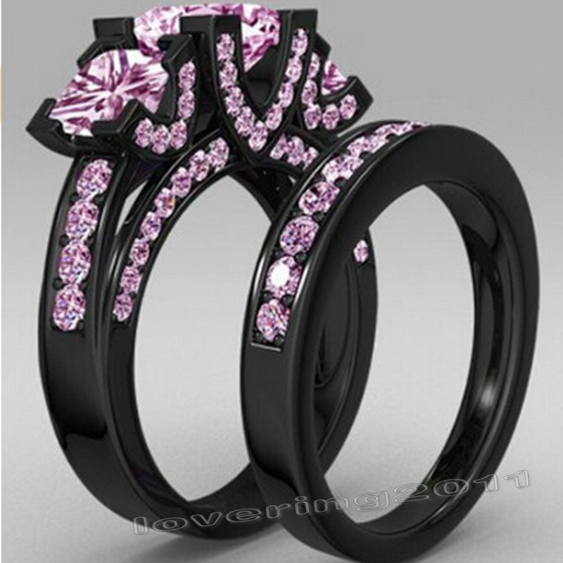 2016 new jewelry princess cut 6ct pink gem 5a zircon birthstone black gold ring 925 sterling silver wedding band ring set - Pink And Black Wedding Ring Set
