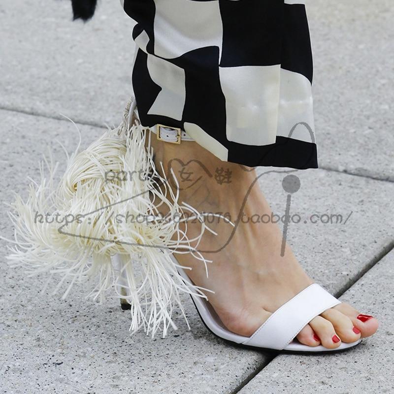 Pie Franja Del Zapatos De Alto Pic La Cinturón as Marca Dedo Vitalidad Tacón Amarillo Negro Pic Lujo Cubierta Sandalias As Hebilla Fugas Mujer Borla Blanco PxCZtnqz