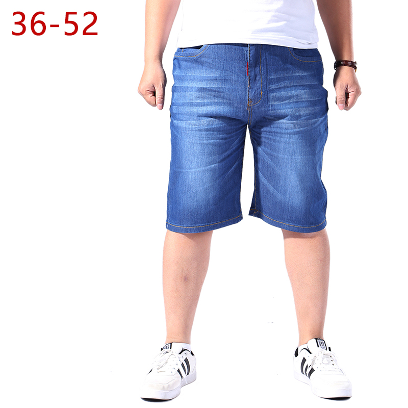 Plus Size 36-52 Classic Jeans Shorts For Men 2018 Summer Casual Male Stretch Straight Hip Hop Loose Baggy Short Denim Trousers