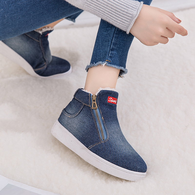 d5708be38dd Classic Winter Snow Boots Platform Ankle Boots Warm Round Toe Denim Flat  Shoes Women High Top Sneakers Zapatos De Mujer