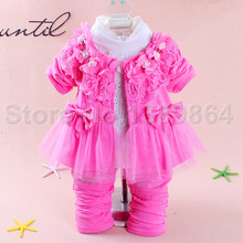 3 Pcs Brand New Baby Girl Dress Summer Style Girl Lace Dress 2015 Fashion Kids Clothes Long Sleeve Girl Dress Top+Pant+Vest